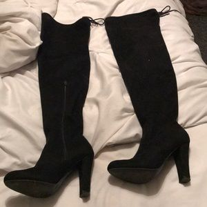 Shoes - *LAST CHANCE* Black Over the Knee Heeled Boots